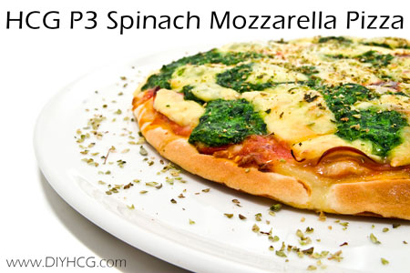 HCG P3 pizza made with a flatbread wrap! Smart idea that keeps carbs and calories low!