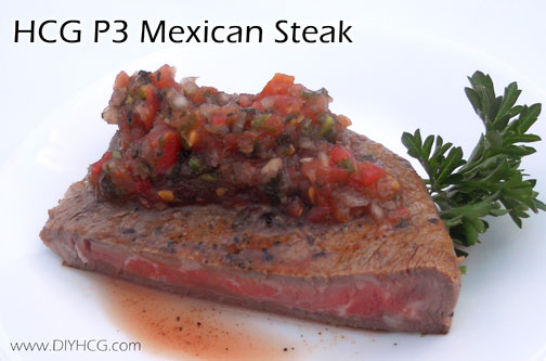Yumm! This mexican flavored seared steak will make phase 3 of the HCG diet exciting!