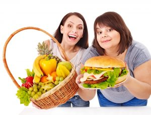 Photo of women with healthy diet food